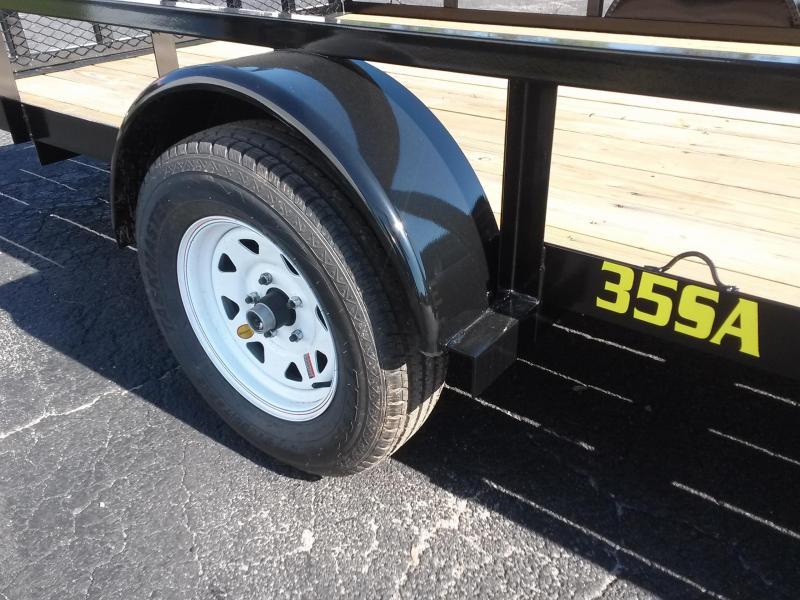 "35SA-14BKRSX BIG TEX 6'11"" X 14' UTILITY TRAILER W/ TAILGATE & SIDE LOAD RAMPS"