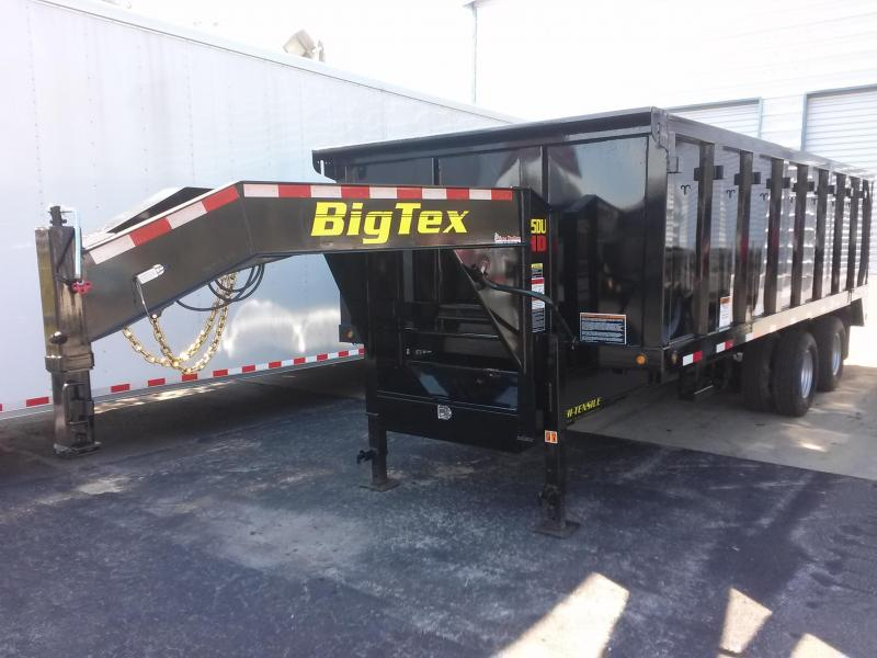 25DU-20 BIG TEX 20' DUAL TANDEM GOOSENECK DUMP TRAILER W/ 4' SIDES AND SLIDE IN RAMPS W/ FREE SPARE TIRE