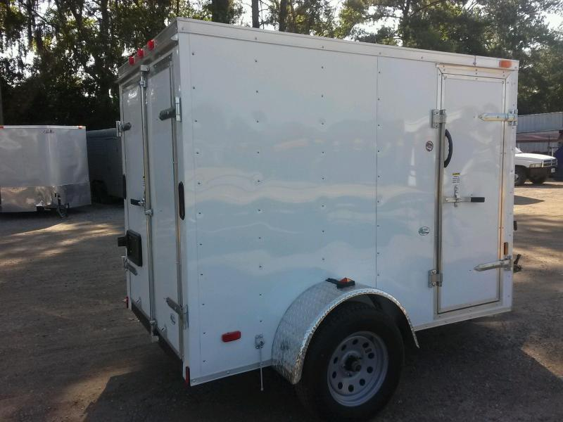 GANS58SA CARGO MATE 5 X 8 ENCLOSED CARGO TRAILER W/ DOUBLE REAR DOORS AND SIDE DOOR