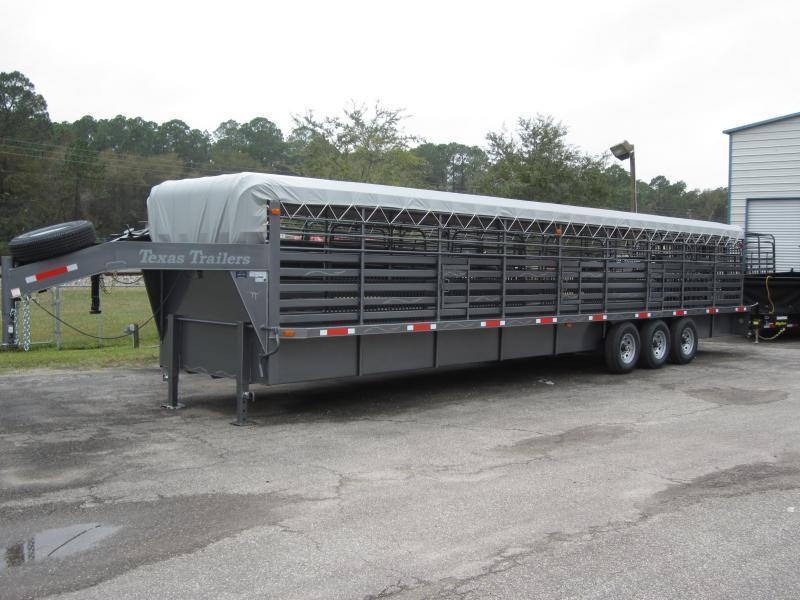 ST3621G TEXAS TRAILERS 36' GOOSENECK STOCK TRAILER W/ TRIPLE AXLES AND FULL WALK OUT ESCAPE DOOR W/ COLOR UPGRADE