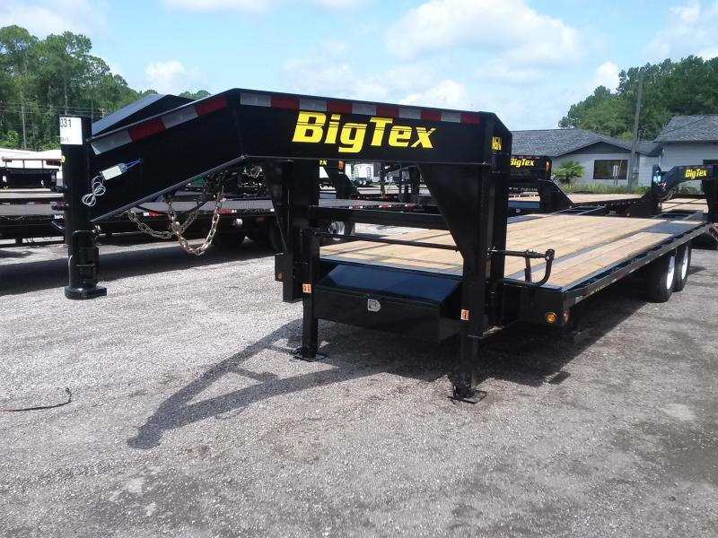 14GN-20BK+5 BIG TEX 25' GOOSENECK TANDEM FLAT BED W/ 5' FOLD UP RAMPS & FREE SPARE TIRE