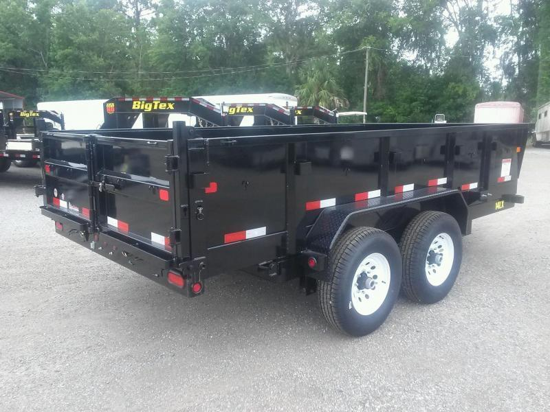 14LX-14 BIG TEX 7' X 14' DUMP TRAILER W/ 7X18 TARP & COMBO REAR GATE W/ 7' SLIDE IN RAMPS