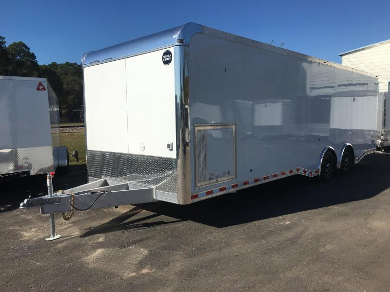 WAR85X2825 WELLS CARGO 8.5X28 SILVERSPORT ALUMINUM CAR HAULER W/ CUSTOM OPTIONS