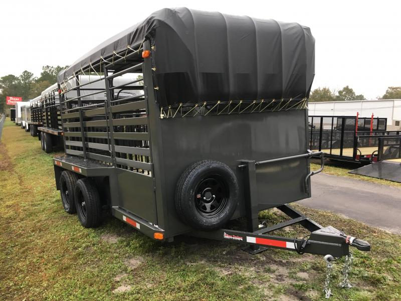 ST1270B TEXAS TRAILERS 12' BUMPER PULL STOCK TRAILER W/ FULL WALK OUT ESCAPE DOOR AND CUT GATE