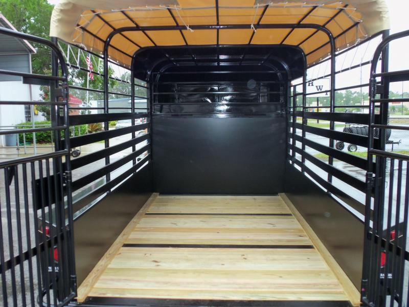 ST1270G TEXAS TRAILERS 12' GOOSENECK STOCK TRAILER W/ 4' HARD NOSE & CALF GATE