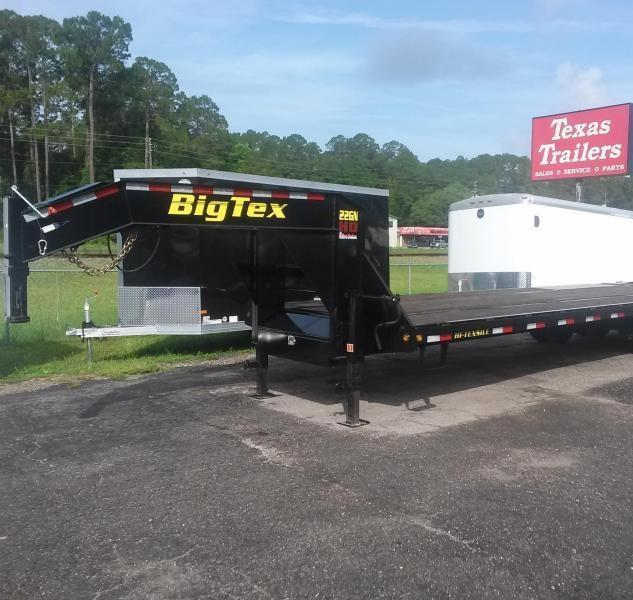 22GN-25BK+5MR BIG TEX 30' GOOSENECK DUAL TANDEM FLAT BED W/ MEGA RAMPS & FREE SPARE TIRE