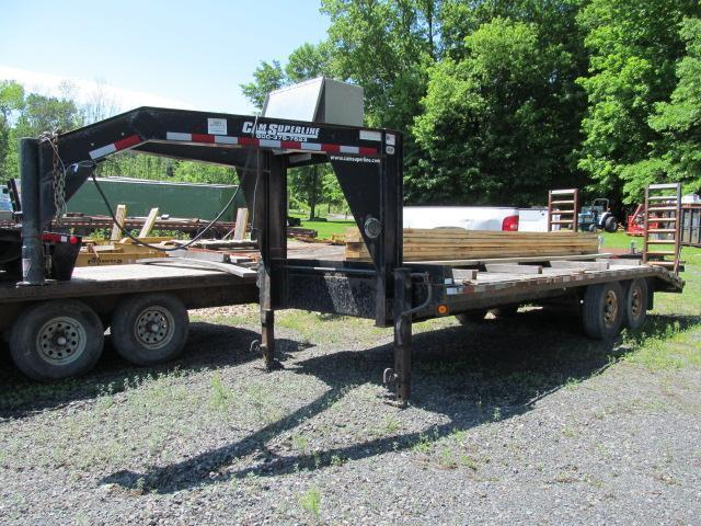 2005 Cam Superline 8 X 20 GN Flatbed Equipment Trailer