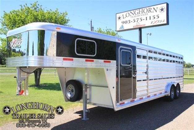 2017 Exiss Trailers 24' Stock Combo with Roper Tack Room - 7.6 Wide Livestock Trailer