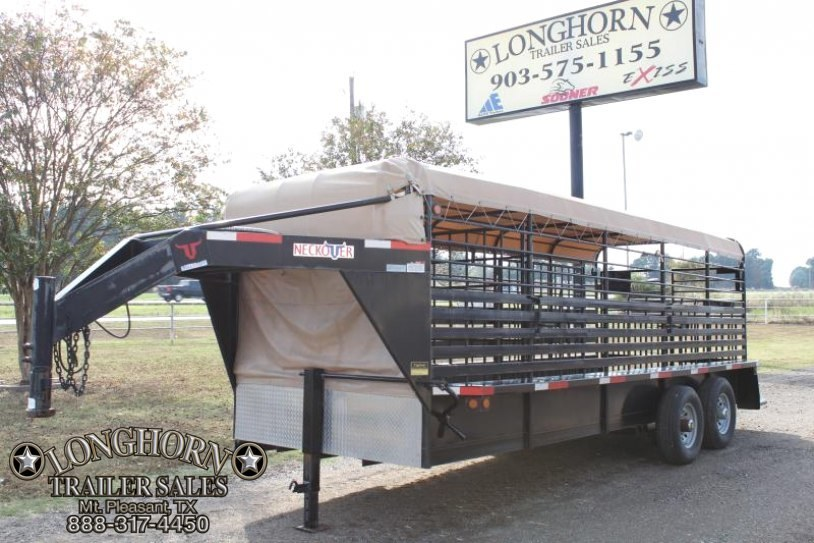 2011 Neckover Trailers 20ft x 6ft8in Tarp Top Livestock Trailer