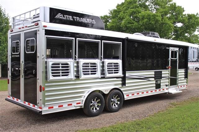 "2019 Elite Trailers 3 Horse with a 12'8"" Shortwall by Trail Boss Horse Trailer"