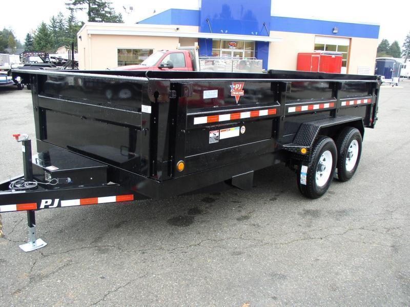2018 PJ Trailers 7x14 14k w/Spare Tire and Mount Tandem Axle Dump Trailer