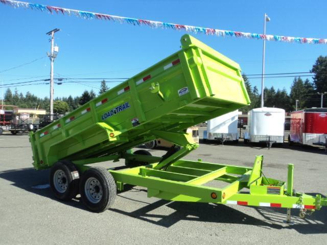 2017 Load Trail 7X14 14K Safety Green Tandem Axle Dump w/Tarp Kit/Ramps/Scissor lift