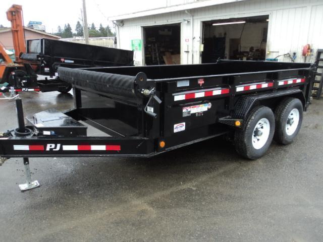 2018 PJ Trailers 7x14 14K Low Pro w/Spare Tire and Tarp Kit Dump Trailer