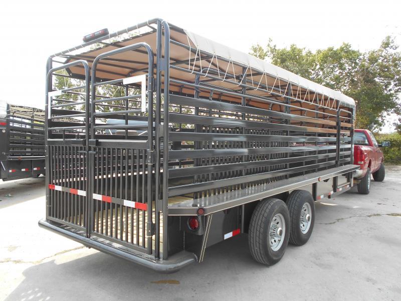 2018 Delco Trailers 6005731 GOOSENECK BAR TOP 2X7 K AXELS 68'X20' Livestock Trailer
