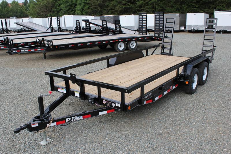 2018 PJ Trailers 18 CE 10K w/ 3x3 Top Rail Fold Up Ramps