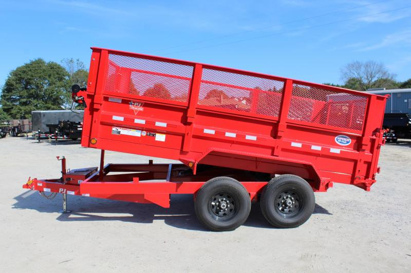 2017 PJ Trailers 7X14 D7 14K Dump Trailer w/2ft Expanded Metal Side Extensions & Slide In Ramps