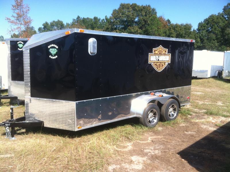 Diamond Cargo 7X14 TVRH Harley Trailer Black/Slant V/Motorcycle