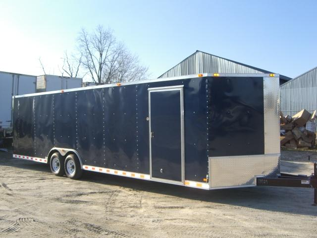 Diamond Cargo 8.5x28 VNose Enclosed Cargo Trailer Indigo Blue Color Escape Hatch Ex Tongue