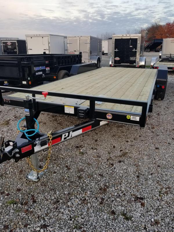 "2018 83x20(18+2' Dovetail) PJ Trailers CE 5"" Channel Equipment Trailer - w/ 5' Rear Slide-in Ramps (GVW: 9899)(Plate for Winch)"