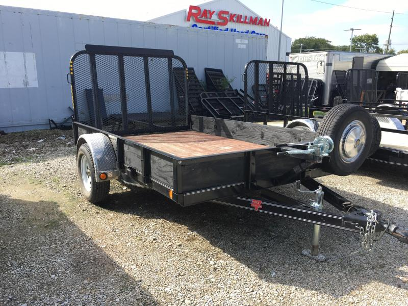 2014 77x10 PJ Trailers USED Utility Trailer - Straight Deck w/ 4' Fold-up Gate (GVW: 2990) *Wood on Sides* *USED*