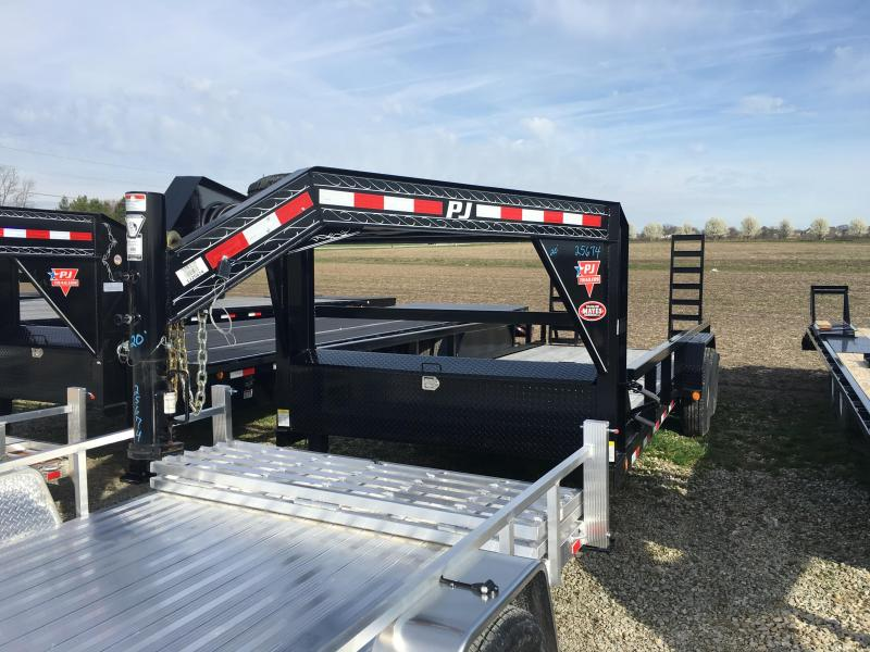 2015 83x20 PJ Trailers Angle Pipetop Gooseneck P8 Utility Trailer - w/ 5' Slide-in Ramps (GVW: 15680) w/ Spare **SPECIAL**
