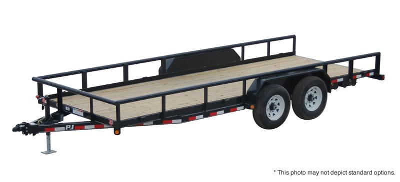 2016 83x20 PJ Trailers P8 Angle Pipetop Trailer Trailer - Straight Deck w/ 4' Fold-up Gate (GVW: 14000)
