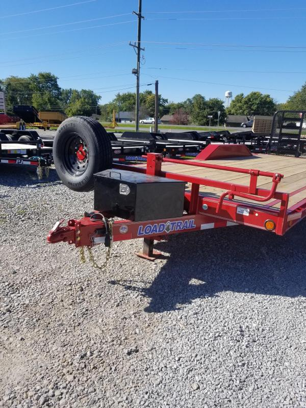 2018 102x22(20+2' Dovetail) Load Trail CH22 Equipment Trailer - w/ 4' HD Split Gate (GVW: 14000) *Red Powdercoat* *Front Toolbox* *Buggy Hauler*