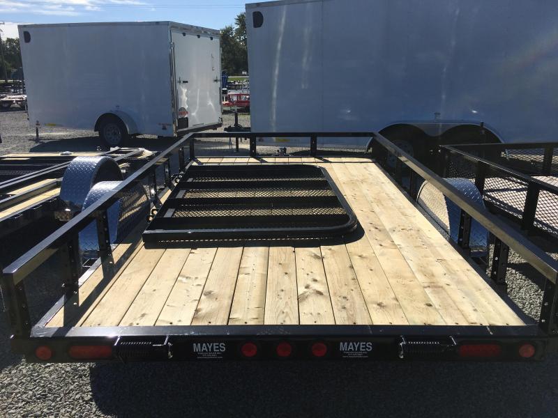 "2018 77x12 PJ Trailers U7 77"" Single Axle Channel Utility Trailer - Straight Deck w/ 4' Fold-up Gate (GVW: 2990)"