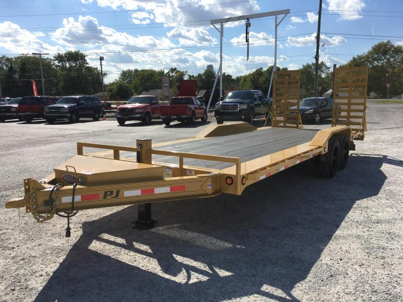2018 83x22(20+2' Dovetail) PJ Trailers H6 Equipment Trailer - w/ 31x66 HD Fold-up Ramps (GVW: 16000)(Primer + Yellow Powdercoat)(Hydraulic Jack)