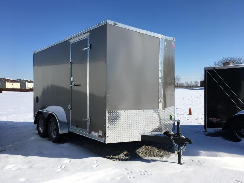 "2018 7x14 Cargo Mate EHW714TA2 Enclosed Cargo Trailer - Light Metallic Pewter (RD)(GVW: 7000)(12"" Extra Height)"