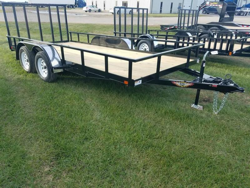 2018 H and H Trailer 82x16 Tandem Axle Rail Side Utility Trailer
