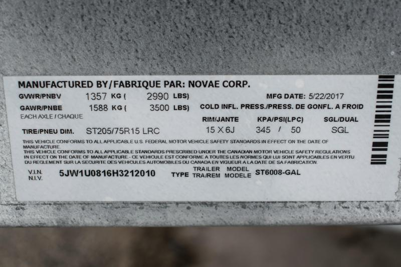 2017 Sure-Trac 5 x 8 Galvanized High Side 3k