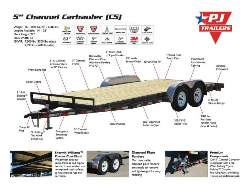 2017 PJ Trailers C5 18' Car Hauler with Diamond Plate REMOVABLE Fenders