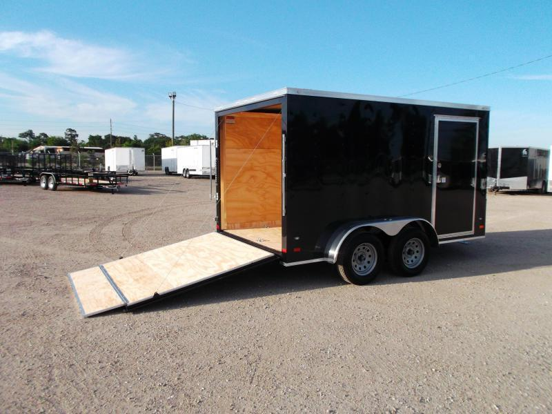 2019 Covered Wagon Trailers 7x12 Tandem Axle Motorcycle Trailer / Cargo Trailer / Enclosed Trailer / Ramp / (8) D-Rings / LEDs