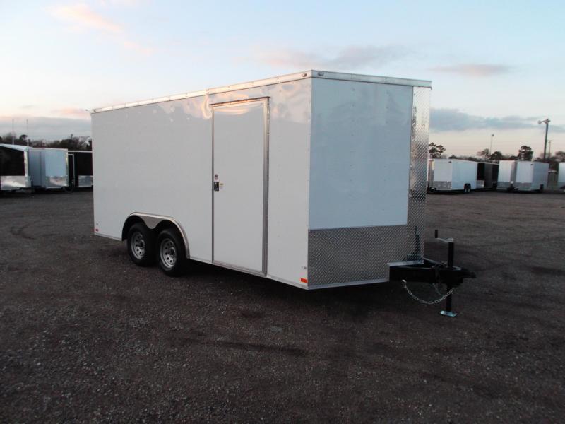 2019 Covered Wagon 8.5x16 Tandem Axle Cargo Trailer / Car Hauler / Ramp / RV Door / LEDs