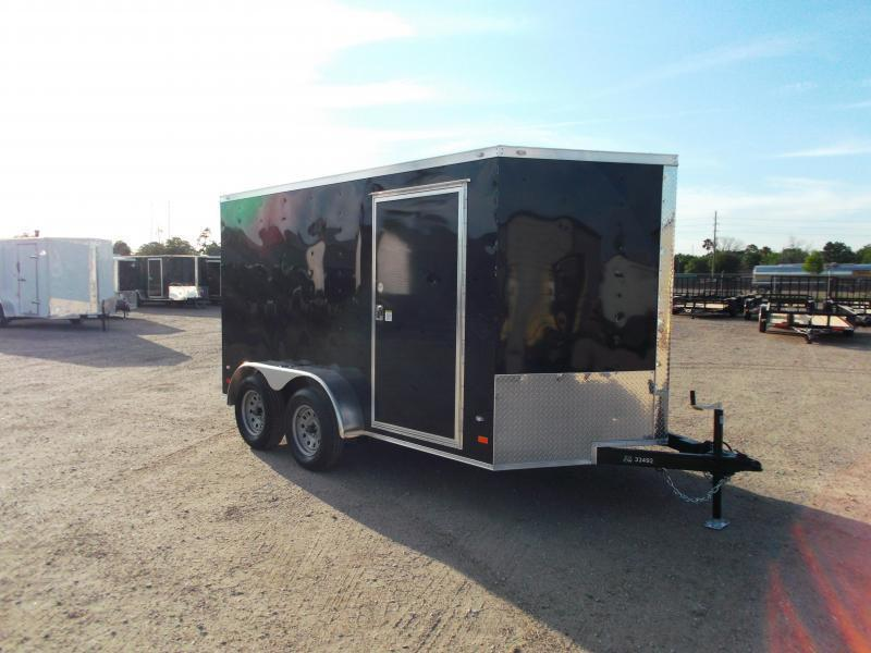 2018 Covered Wagon Trailers 7x12 Tandem Axle Motorcycle Trailer / Cargo Trailer / Enclosed Trailer / Ramp / (8) D-Rings / LEDs
