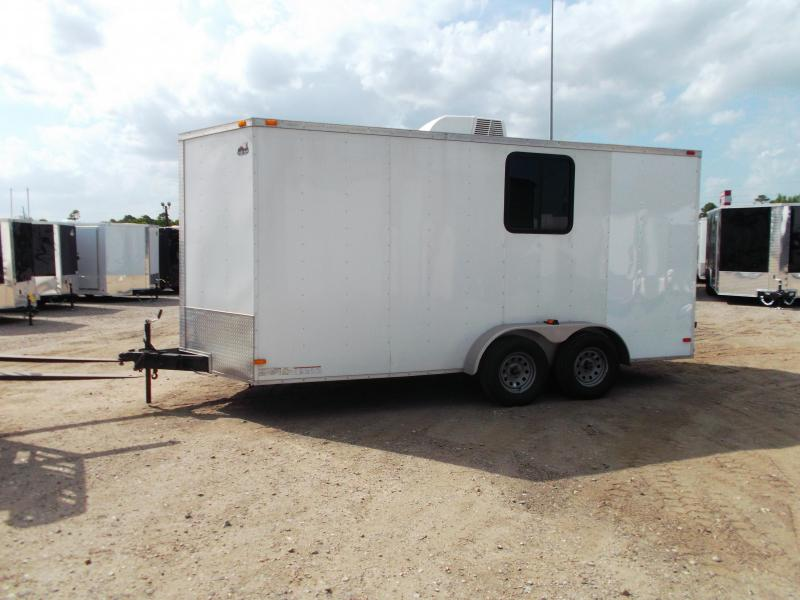 2014 Covered Wagon Trailers 7x16 Tandem Axle Cargo Trailer / Enclosed Trailer / Motorcycle Trailer / 7ft Interior / Ramp / RV Door / Electrical Package / A/C / D-Rings