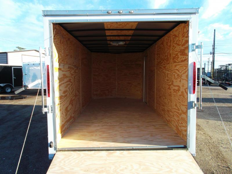 2019 Texas Select 7x16 Tandem Axle Cargo Trailer / Enclosed Trailer / Ramp / 7ft Interior / Side Door / LEDs