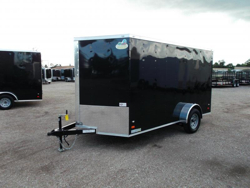 2018 Covered Wagon Cargo Trailer 7x12 Single Axle Cargo Trailer / Enclosed Trailer w/ Ramp Gate / RV Side Door / LEDs