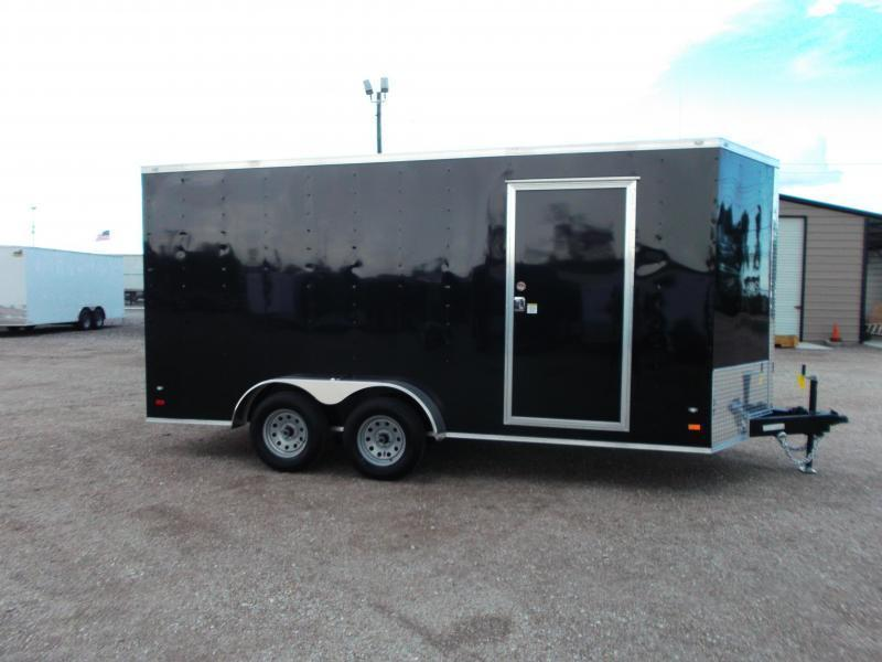 2018 Covered Wagon Trailers 7x16 Tandem Axle Cargo Trailer / Enclosed Trailer w/ 7ft Interior / Ramp / RV Door / LEDs