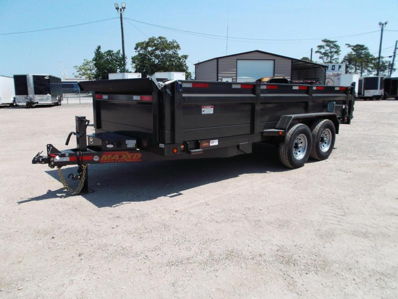 2018 Maxxd Trailers 83x16 Heavy Duty 14K Dump Trailer / Powder Coated / Tarp / 7K Rear Stabilizers / 7ft Ramps