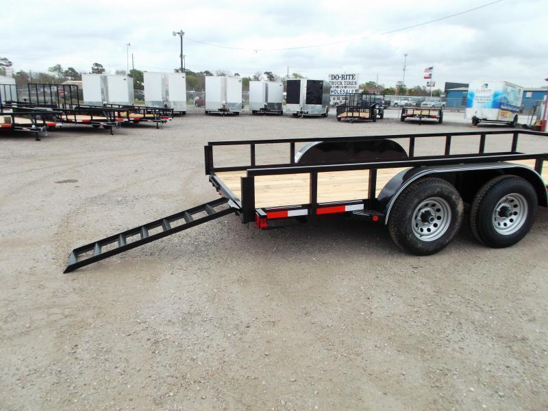 "2019 Longhorn Trailers 83x20 Utility Trailer / 5200# Axles / 2"" Square Tubing / Brakes / 5ft Ramps"
