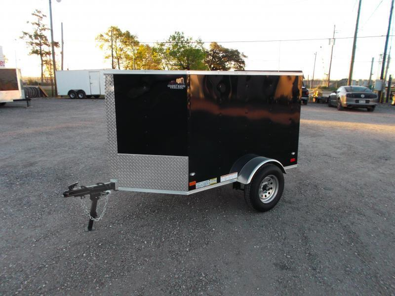 2019 Covered Wagon Trailers 4x6 Single Axle Cargo Trailer / Enclosed Trailer / Black / LEDs