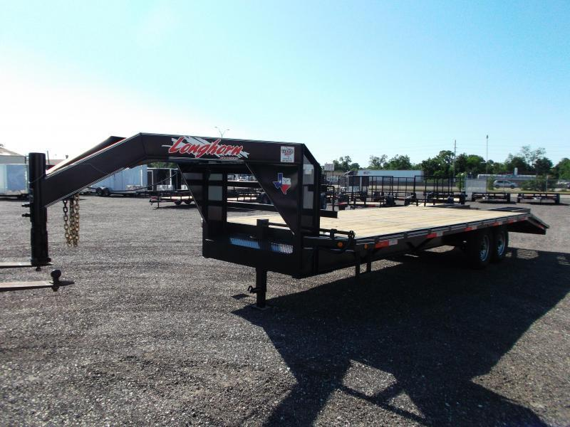 "NEW 2019 102"" x 25' Longhorn Gooseneck Flatdeck / 5ft Dovetail & Spring Assisted Heavy Duty Ramps"