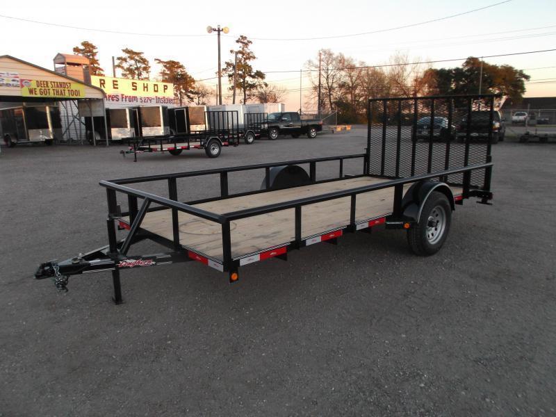 2018 Longhorn Trailers 77x14 Single Axle Utility Trailer w/ Pipetop / 4ft Heavy Duty Ramp Gate
