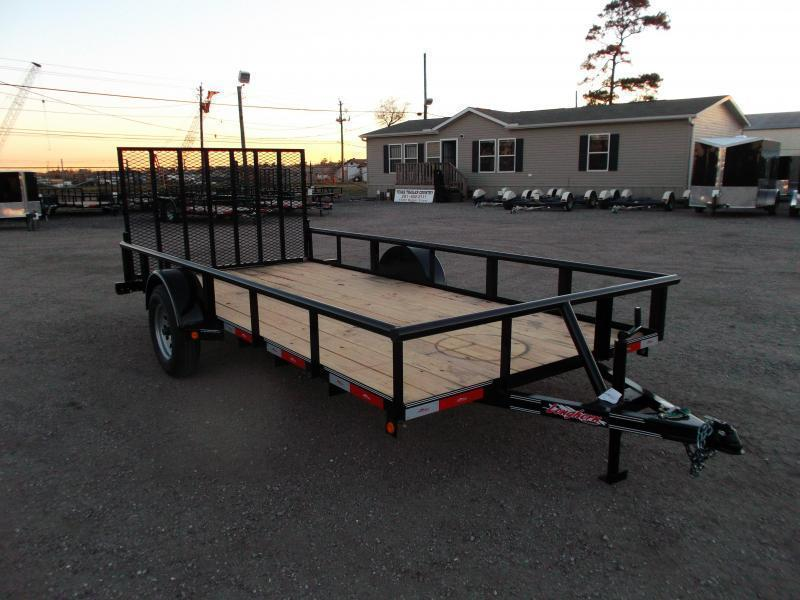 2018 Longhorn Trailers 77x14 Single Axle Utility Trailer w/ Pipetop / 4ft Heavy Duty Ramp Gate
