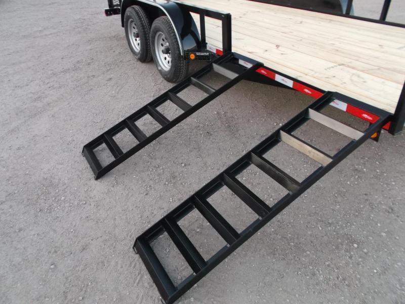 2019 Longhorn Trailers 16ft Utility Trailer / ATV Trailer w/ 4ft Rear Ramp Gate / 5ft Slide Out Side Ramps