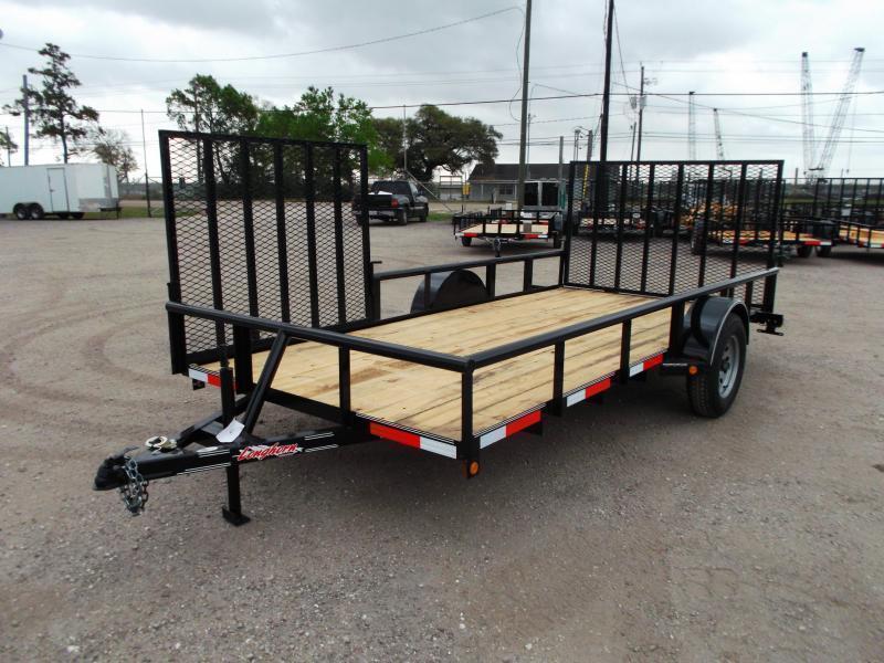 2019 Longhorn Trailers 83x14 Single Axle Utility Trailer w/ Pipetop / 4ft Heavy Duty Rear Ramp / Side Load Ramp Gate