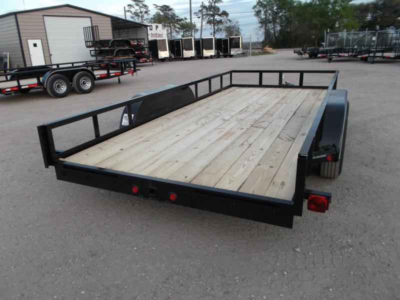 2018 Longhorn Trailers 83x16 Utility Trailer w/ 5200# Axles / 5ft Slide Out Ramps / 7K Jack / Electric Brakes