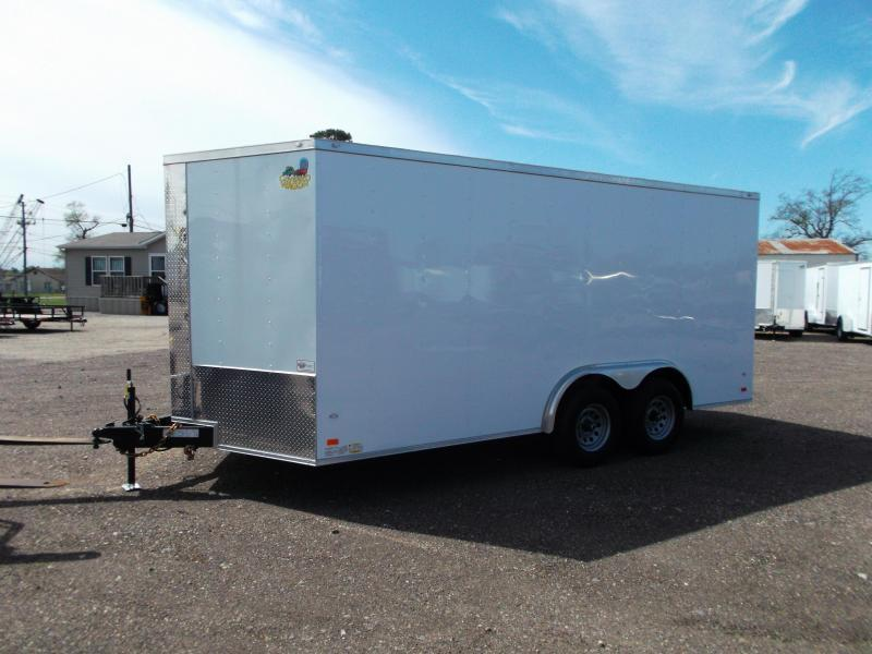 SECIAL - 2019 Covered Wagon Trailers 8x16 Tandem Axle Cargo / Enclosed Trailer / Ramp / RV Side Door / LEDs
